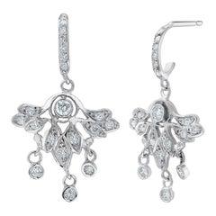 Diamond Cluster White Gold Dangle Hoop Earrings