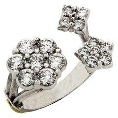 Diamond Cluster White Gold Ring Stambolian