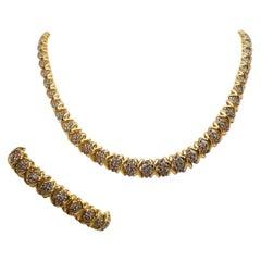 Diamond Cluster Yellow Gold Necklace Bracelet Set