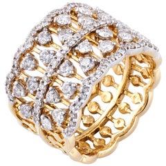 Diamond Cocktail Fashion Ring Set in 18 Karat Yellow Gold 'VS/G Diamonds'