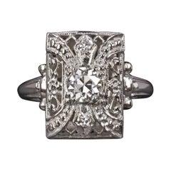 Diamond Cocktail Ring Art Decò Old European Cut GIA Certified F VS1 Set 14k Whit