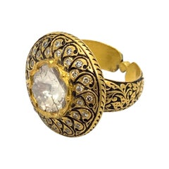 Diamond Cocktail Ring Handcrafted in 18k Yellow Gold with Enamel Work