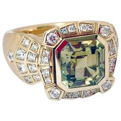Diamond Cocktail Ring in Rose Gold 18 Karat with Asscher Cut Green Garnet