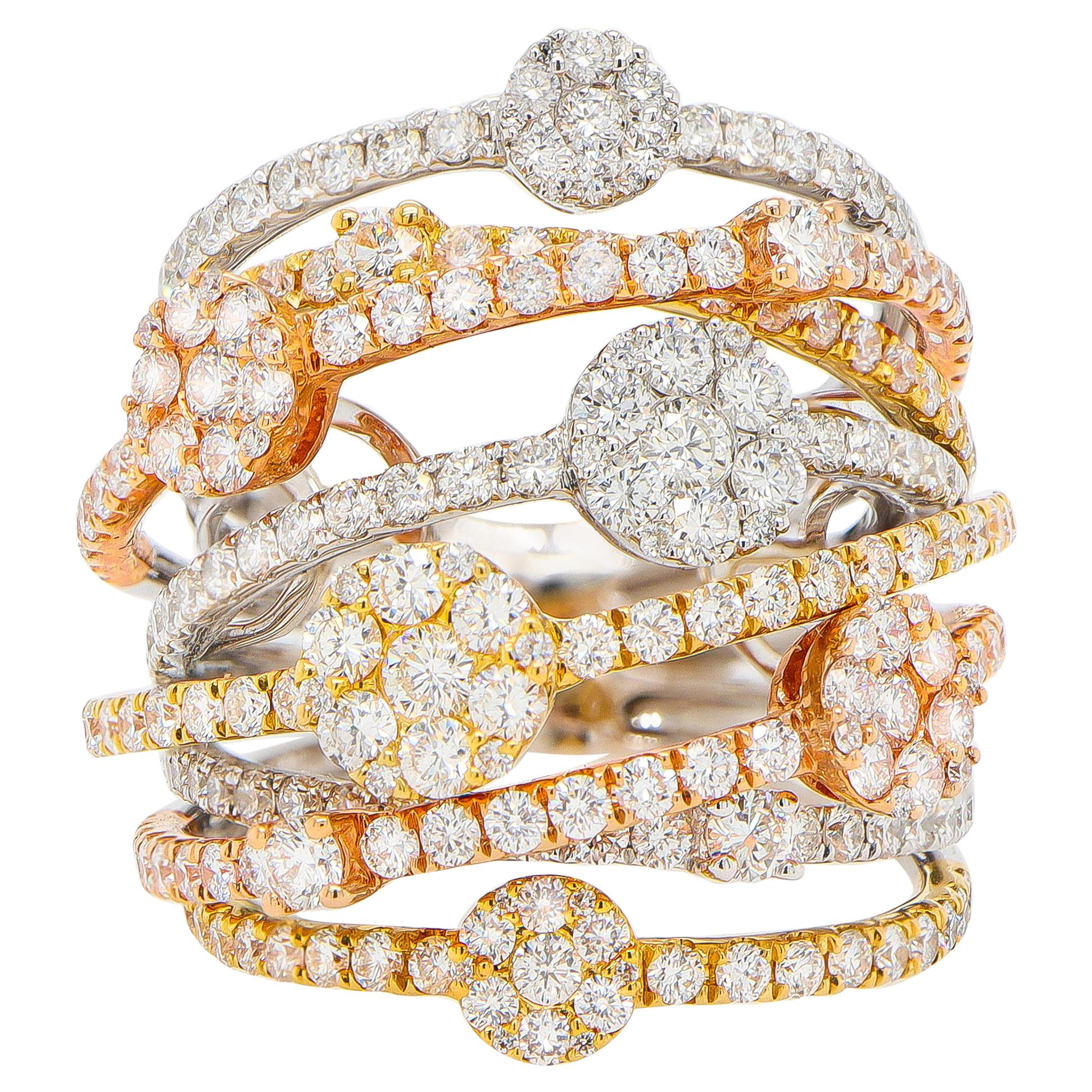 Diamond Cocktail Ring Made with 241 Diamonds 3.26 Carats 18K Gold