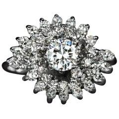 Diamond Cocktail Ring Round Cut Statement White Gold