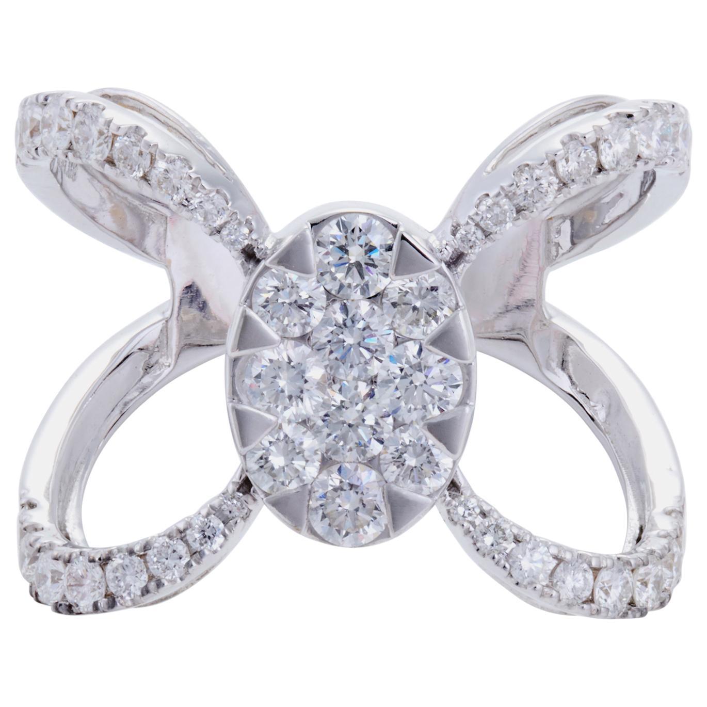 Diamond Cocktail Ring 'VS/G Diamonds' Ring Set in 18 Karat White Gold