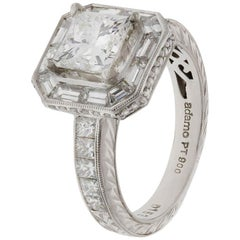 Diamond Platinum Cocktail Ring with Princess and Baguette Cut Diamonds