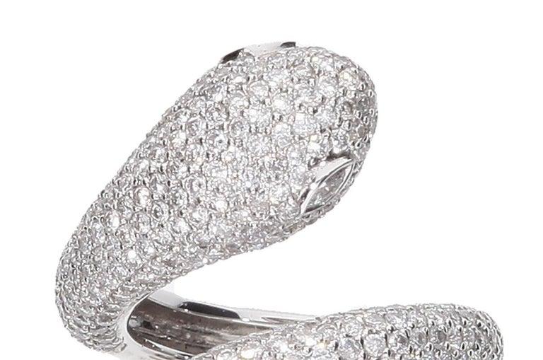 Diamond Cocktail Snake Ring White Gold For Sale 6