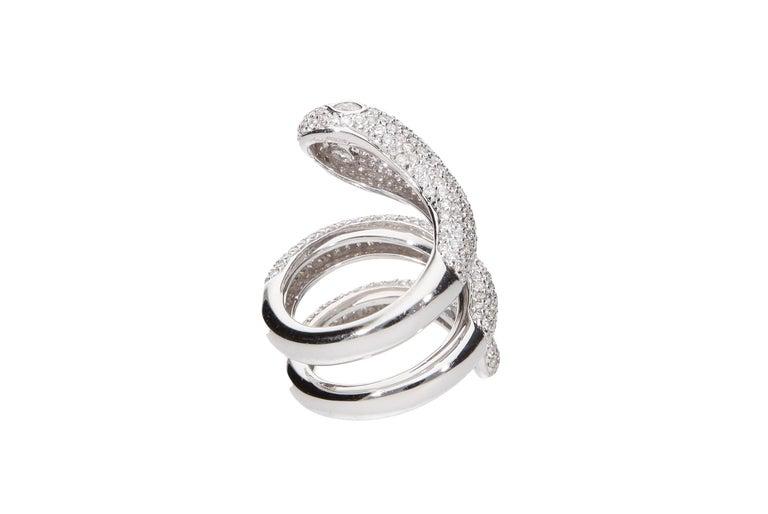 Women's Diamond Cocktail Snake Ring White Gold For Sale