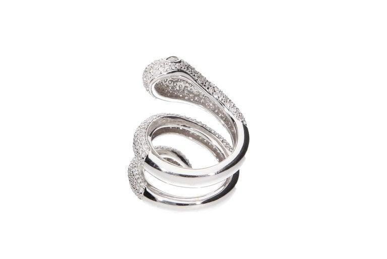 Diamond Cocktail Snake Ring White Gold For Sale 1
