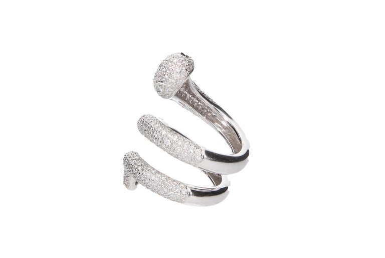 Diamond Cocktail Snake Ring White Gold For Sale 2
