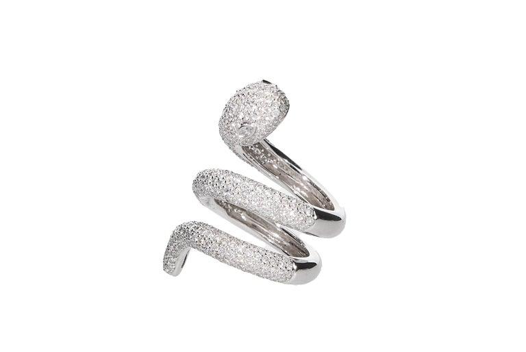 Diamond Cocktail Snake Ring White Gold For Sale 3