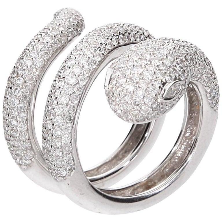 Diamond Cocktail Snake Ring White Gold For Sale