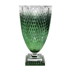 Diamond Collection Large Green Crystal Vase