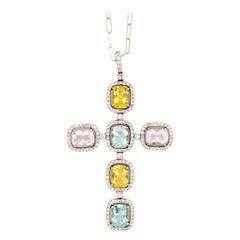 Diamond Color Gemstone Cross Pendant 14 Karat White Gold