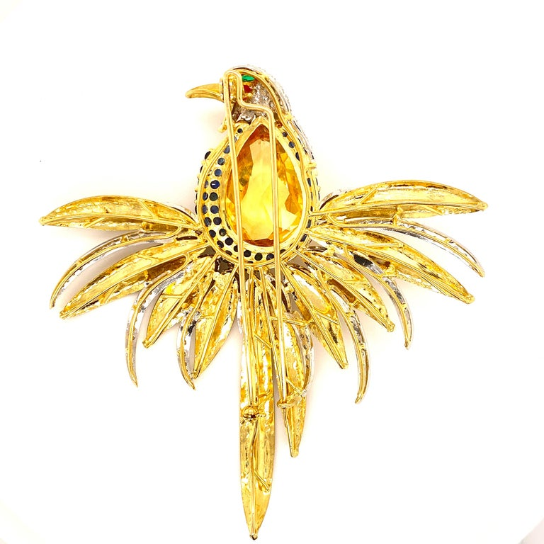Pear Cut Diamond Colorful Gemstone Bird Brooch Pin 18 Karat Yellow Gold For Sale