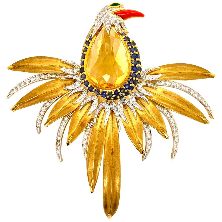 Diamond Colorful Gemstone Bird Brooch Pin 18 Karat Yellow Gold For Sale