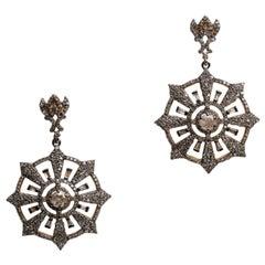 Diamond Compass Rose Dangle Chandelier Earrings