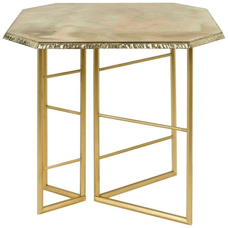 Diamond Contemporary Console, One of a Kind Item, Silvered Glass, Cast Brass For Sale