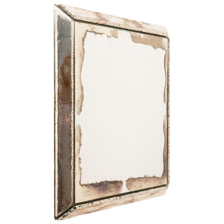 """Diamond"" Contemporary Mirror, Silvered Glass and Central Mirror, Birch Wood For Sale"