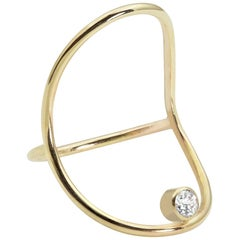 Diamond Continuity Ring in 14K Gold with Round Diamond by White/Space Jewelry