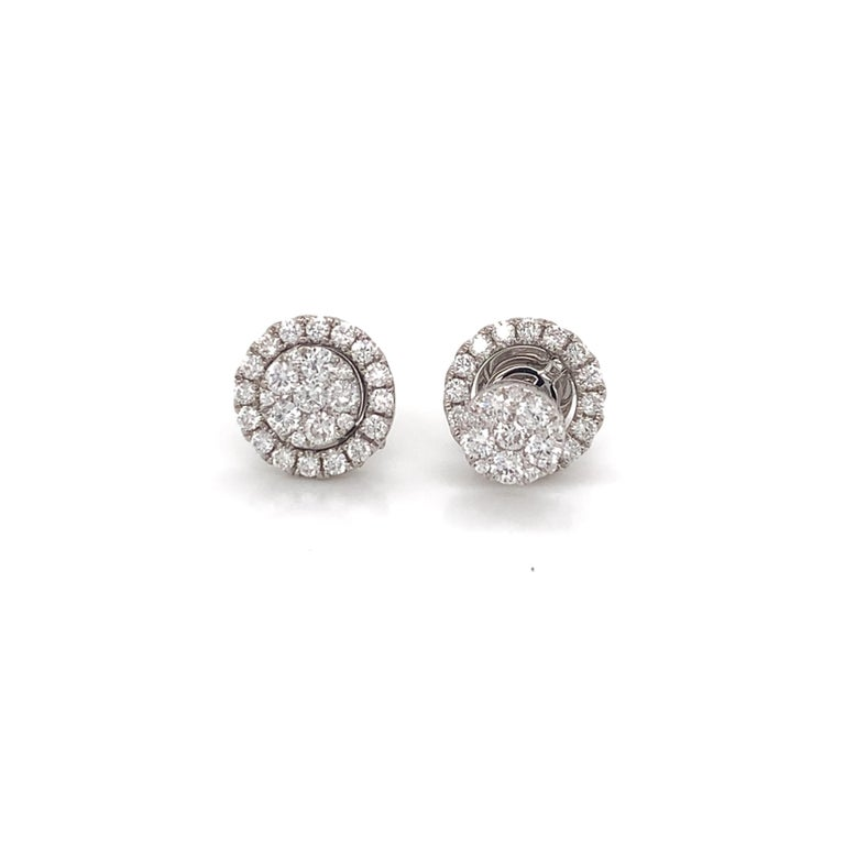 Convertible Diamond Dangle/Stud earrings made with real/natural brilliant cut diamonds. Total Diamond Weight: 1.01 carats. Diamond Quantity: 54 round diamonds. Color: G. Clarity: VS. Mounted on 18 karat white gold push-back setting.
