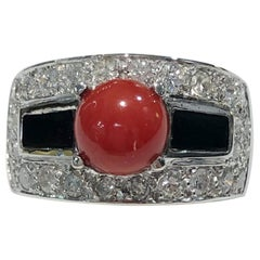 Diamond Coral and Onyx Platinum Ring