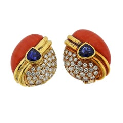 Diamond Coral Sapphire Gold Earrings