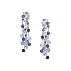 Diamond Cordierite Topaz Fancy Dangling Earrings 18 Karat White Gold