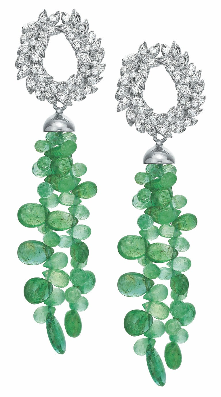Modern Andrew Glassford Diamond Earrings with Detachable Emerald & Sapphire Briolletes For Sale