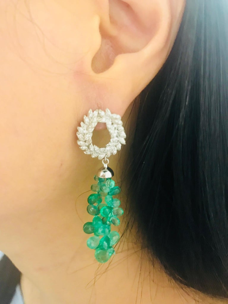 Andrew Glassford Diamond Earrings with Detachable Emerald & Sapphire Briolletes For Sale 2