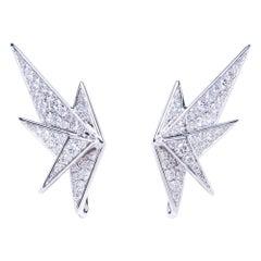 Diamond Crane Earrings, 18 Karat White Gold