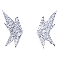 Diamond Crane Earrings, 18 Karat White Gold