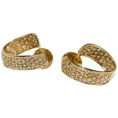 Diamond Creoles in 14 Karat Yellow Gold