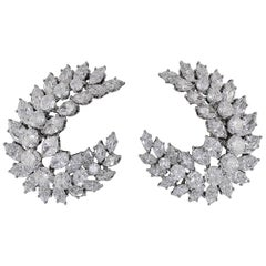 Diamond Crescent Marquis Cluster Ear Clips