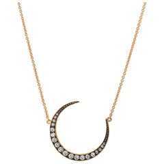 Diamond Crescent Moon Pendant 0.43 Carat 18 Karat Yellow Gold with Necklace