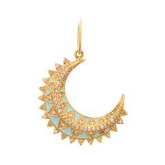Diamond Crescent Moon Pendant 14k Yellow Gold Egg Shell Blue Enamel Sunburst