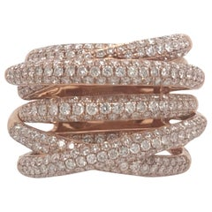 Diamond Criss Cross Ring 2.37 Carat 18 Karat Rose Gold