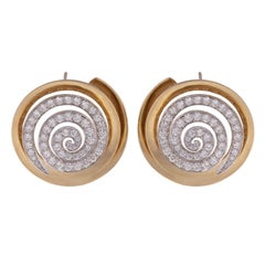 Diamond Croissant Swirls Gold Ear Clips