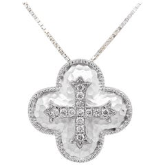 Diamond Cross Necklace with Hammering, Diamond Cross Pendant and Chain, Sterling