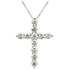 Diamond Cross Pendant 1.05 Carat Necklace 14 Karat White Gold