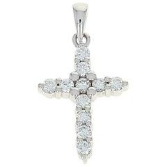 Diamond Cross Pendant, 14 Karat White Gold Faith Gift Round Cut .42 Carat