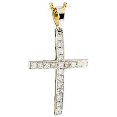 Diamond Cross Pendant in 14 Karat White Gold with 10 Karat Yellow Gold Chain