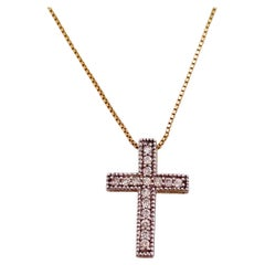 Diamond Cross Pendant Necklace in Yellow Gold and