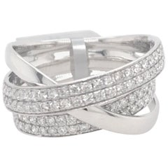 Diamond Crossover Ring 0.79 Carat 18 Karat White Gold
