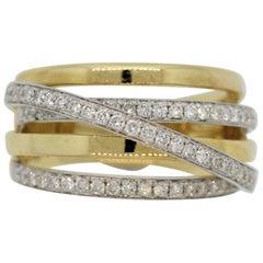 Diamond Crossover Two-Tone Gold Bridge Ring