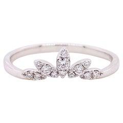Diamond Crown Ring, 14 Karat White Gold Curved Band, Round, Marquise