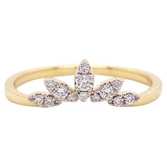 Diamond Crown Ring, 14 Karat Yellow Gold Curved Band, Round, Marquise