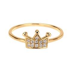 Diamond Crown Ring in 18k Yellow Gold