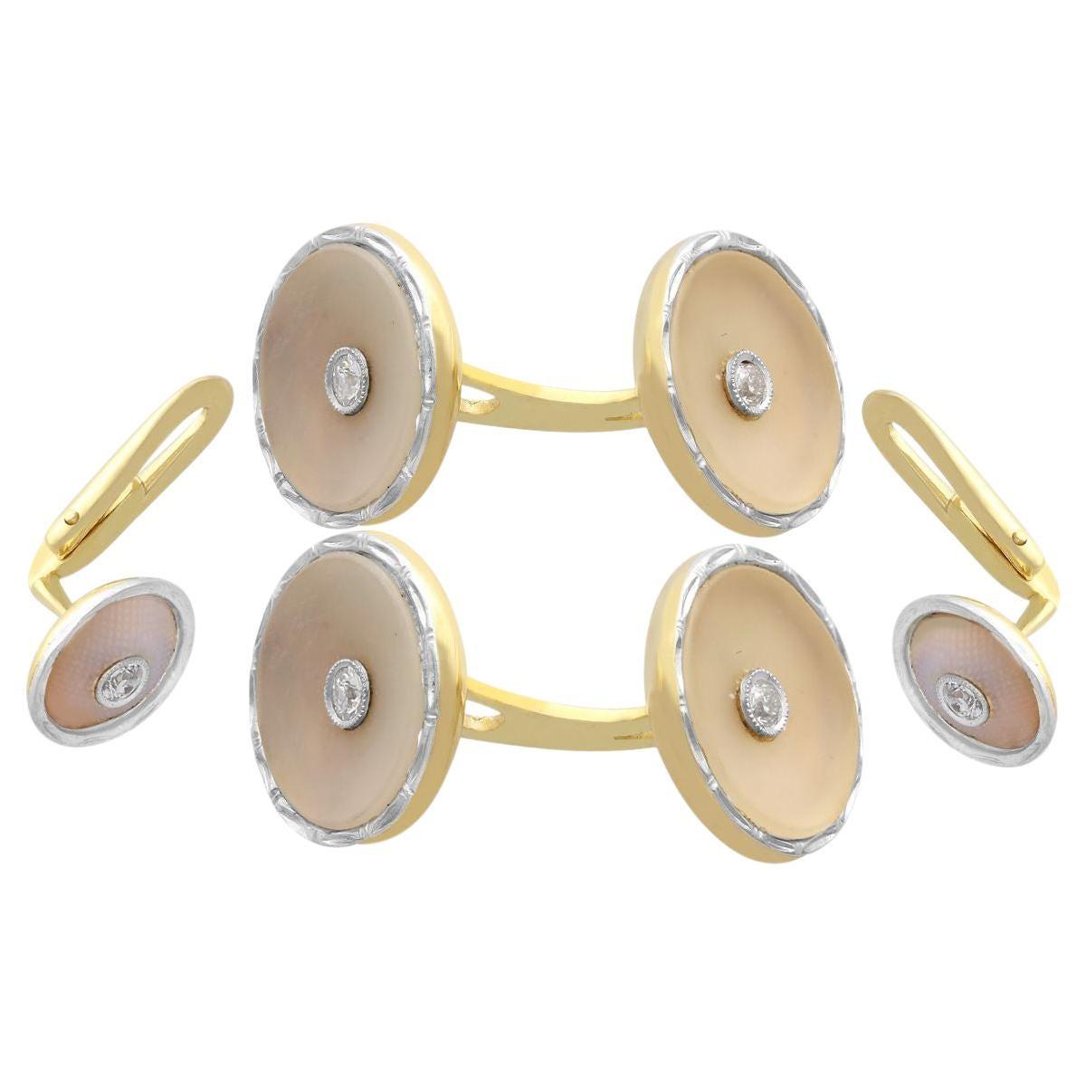 Diamond Crystal Yellow Gold and Platinum Cufflink and Stud Set